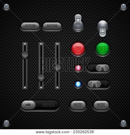 Carbon Ui Application Software Controls Set. Switch, Knobs, Button. Web Design Elements. Vector User