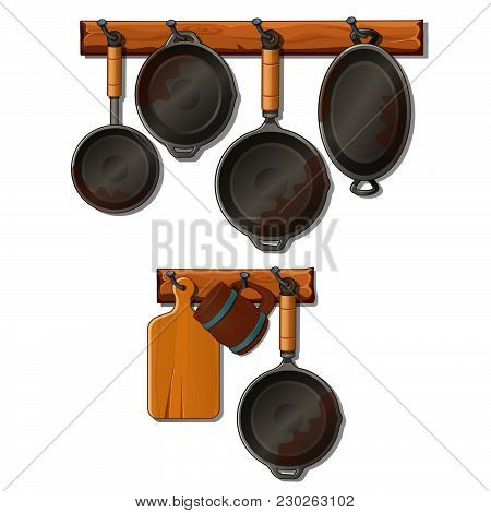A Set Of Kitchen Utensils Made Of Cast Iron And Cutting Board. Vector.