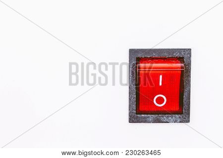 Red Power Switch On A White Background
