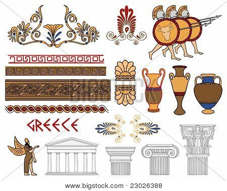 Greece Architecture And Ornaments Color Vector Set
