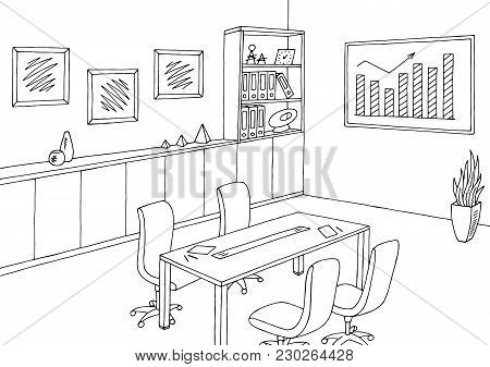 Office Meeting Room Graphic Black White Interior Sketch Illustration Vector