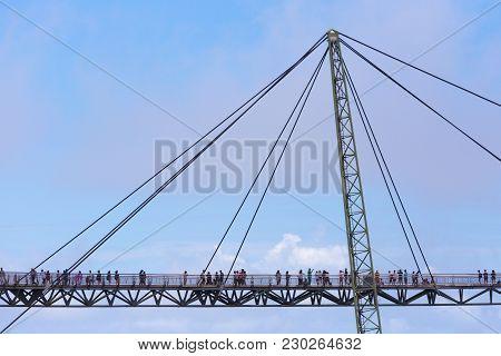 Langkawi Sky Bridge, Suspension Bridge In Langkawi Kedah Malaysia Is A 125-metre Curved Pedestrian C