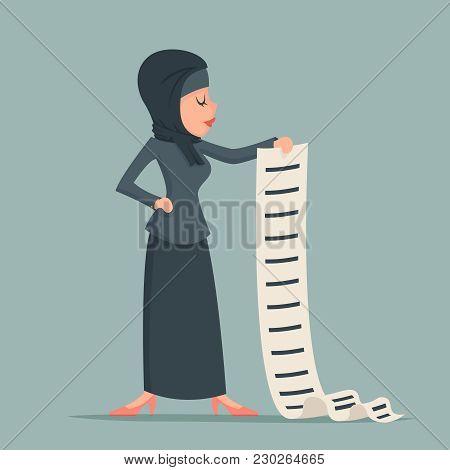 Arab Cute Businesswoman Tradidcional Clothing Hijab Abaya Jacket Long List Work Deed Sign Offer Docu