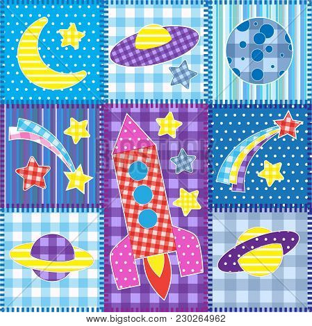 Colorful Space Patchwork. .seamless Baby Vector Background