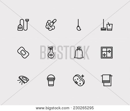 Cleaning Icons Set With Cleaning Bucket, Ironing And Cleaning Mop Elements. Set Of Cleaning Icons Al