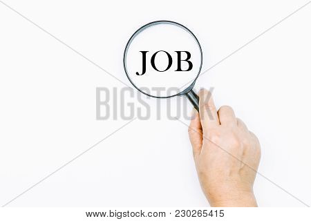 Unemployment Concept With Magnifying Glass On White
