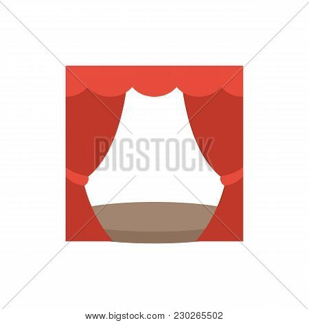 Theater Curtain Icon Flat Symbol. Isolated Vector Illustration Of Theater Stage Sign Concept For You