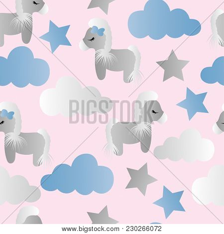 Seamless Pattern With A Cartoon Cute Toy Pony, Clouds And Stars On A Pink Background