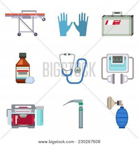 Ambulance Icons Vector Set. Medicine Health Emergency Hospital Symbol. Urgent Pharmacy Pill Support