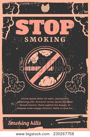 Vintage Stop Smoking Poster With Text Cigarette Matches Tobacco Leaves And Smoke Clouds Vector Illus