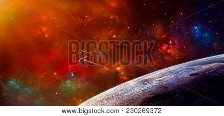 Space Scene. Colorful Nebula With Two Spaceship And Planet. Elements Furnished By Nasa. 3d Rendering