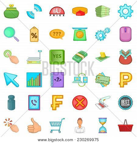 Monetary Value Icons Set. Cartoon Set Of 36 Monetary Value Vector Icons For Web Isolated On White Ba