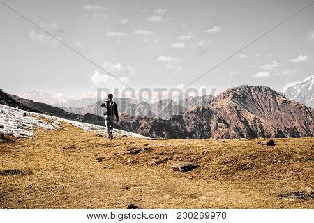On The Top Of Ice Mountain Munsiyari. We Get This View After A 10km Trek Of Khaliya Mountain Munsiya