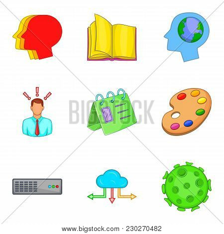 Premeditation Icons Set. Cartoon Set Of 9 Premeditation Vector Icons For Web Isolated On White Backg