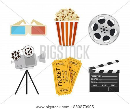 Movie Icons. Realistic Style. Popcorn, 3d Glasses, Cinema Clapper, Ticket. Film Industry. Cinematogr