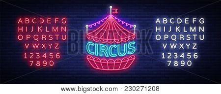 Circus Neon Sign. Design Template, Neon Style Logo, Circus Tent Symbol, Neon Banner, Bright Nightlif