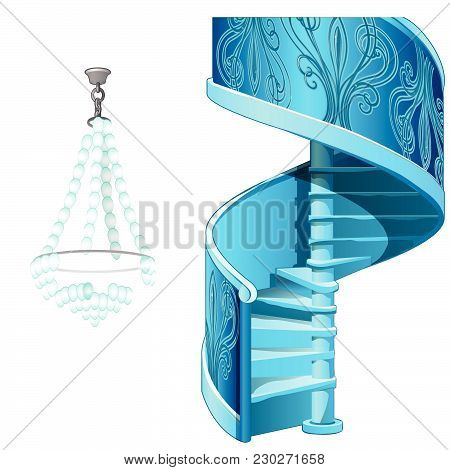 Spiral Staircase And Crystal Chandelier. The Interior Of The Ice. Vector.