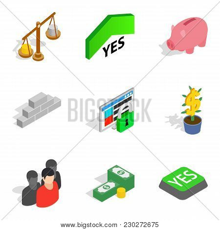 Work Schedule Icons Set. Isometric Set Of 9 Work Schedule Vector Icons For Web Isolated On White Bac