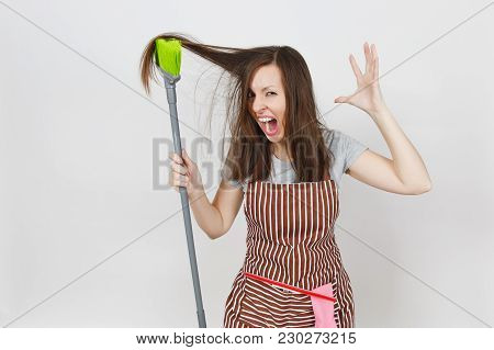 Young Fun Crazy Dizzy Loony Wild Aggressive Housewife Tousled Hair In Striped Apron In Pocket Isolat