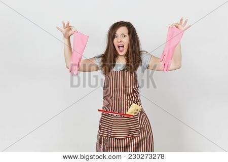 Young Fun Crazy Dizzy Loony Wild Screaming Housewife Tousled Hair In Striped Apron Squeegee Cleaning