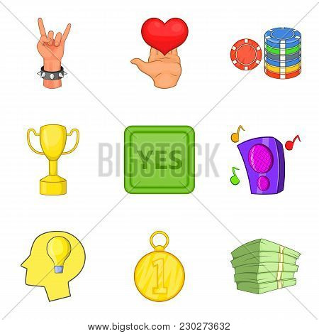 Winning Party Icons Set. Cartoon Set Of 9 Winning Party Vector Icons For Web Isolated On White Backg