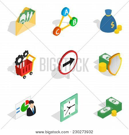 Stipulate Icons Set. Isometric Set Of 9 Stipulate Vector Icons For Web Isolated On White Background
