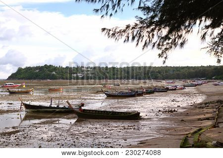 Panoramic View Of Boats During Low Tide In Thailand