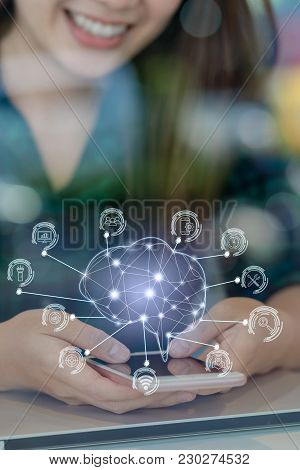 Polygonal Brain Shape Of An Artificial Intelligence With Various Icon Of Smart City Internet Of Thin