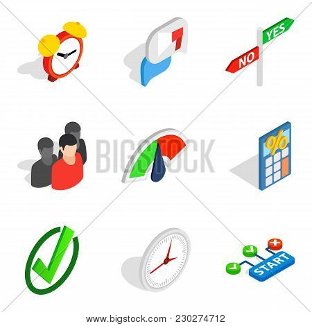 Signal Icons Set. Isometric Set Of 9 Signal Vector Icons For Web Isolated On White Background