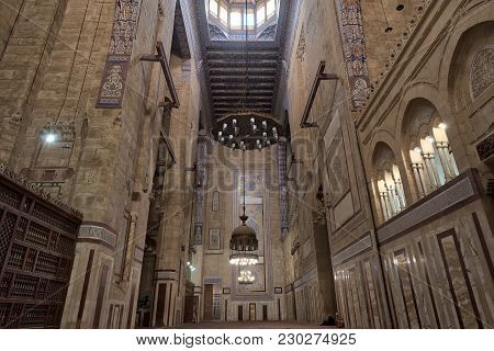 Cairo, Egypt - December 16 2017: Interior Of Al Refai Mosque With Old Decorated Bricks Stone Wall, C