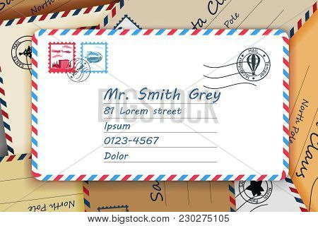 Pile Of Mailing Postal Address Letters Mail Post Stamp Template Vector Illustration