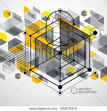Trendy Geometric Vector Pattern, Textured Abstract Cube Mesh Yellow Background. Technical Plan, Abst