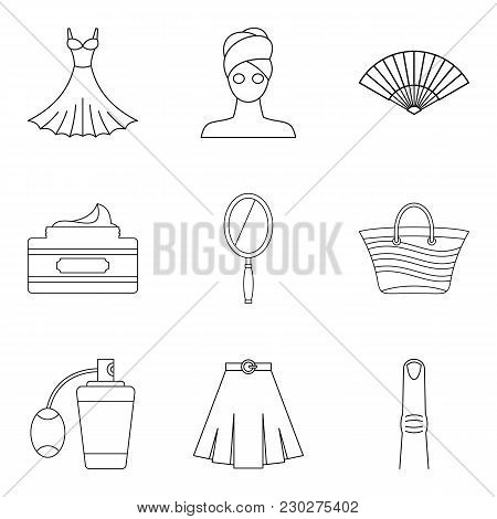 Feminine Gender Icons Set. Outline Set Of 9 Feminine Gender Vector Icons For Web Isolated On White B
