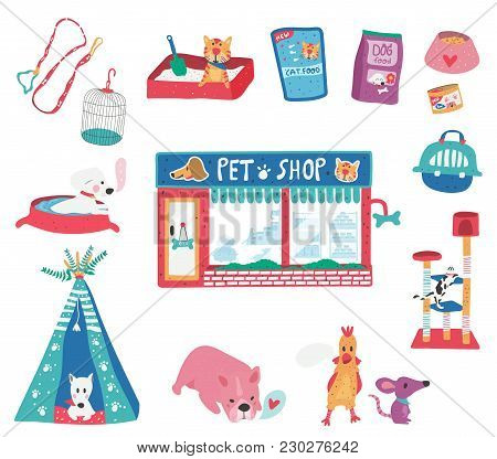 Doodle Drawing Pet Shop With Cat, Puppy, Pet Care Supplies And Accessories Set, Dotted Texture Flat