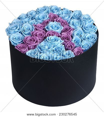 Send Flowers And Delight Someone With This Beautiful Blue And Purple Flower Bunch In Black Box. This