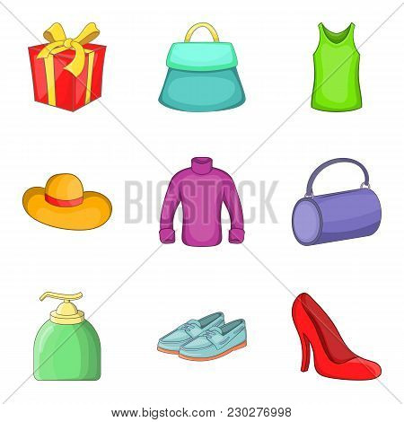 Womenswear Icons Set. Cartoon Set Of 9 Womenswear Vector Icons For Web Isolated On White Background