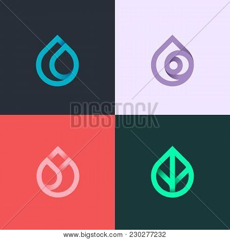 Nature Elements. Water, Fire, Earth, Air. Gradient Elements On Dark Background. Nature Logo. Alterna
