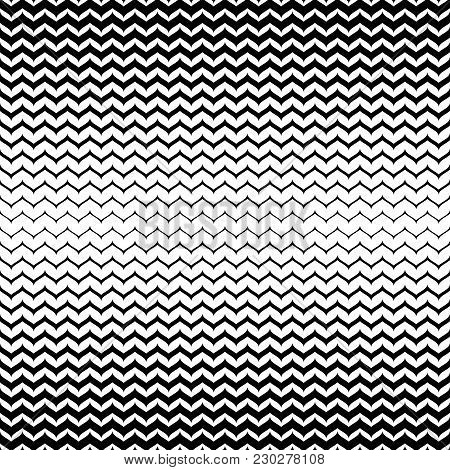 Vector Halftone Background. Abstract Geometric Seamless Pattern With Curly Zigzag Lines. Black & Whi
