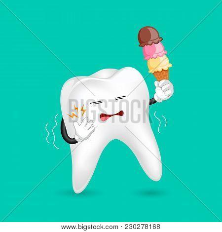 Cute Cartoon Sensitive Tooth Character Holding Ice Cream. Cold Sensitivity,  Dental Care Concept.  I