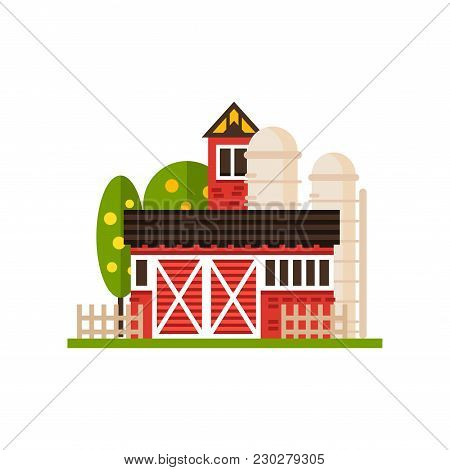 Traditional American Red Barn And Silo, Countryside Construction Vector Illustrations Isolated On A