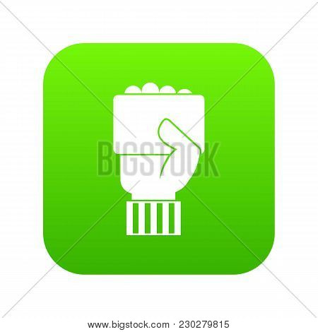 Hand Of Soccer Referee Showing Card Icon Digital Green For Any Design Isolated On White Vector Illus