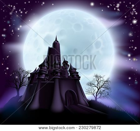 Halloween Castle Background With A Spooky Haunted Castle And Trees On A Hill Silhouetted Against A F