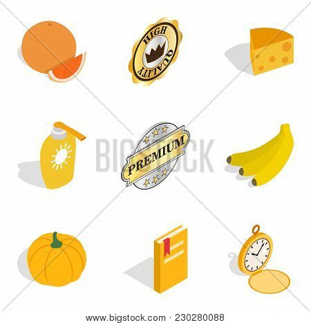 Quality Food Icons Set. Isometric Set Of 9 Quality Food Vector Icons For Web Isolated On White Backg