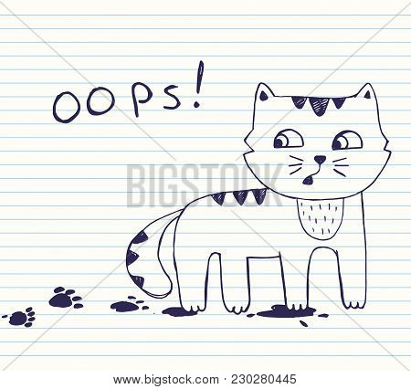 Vector Illustration Of Hand Drawn  Little Naughty Cat With Dirty Footprints. Quick Sketch With Blue