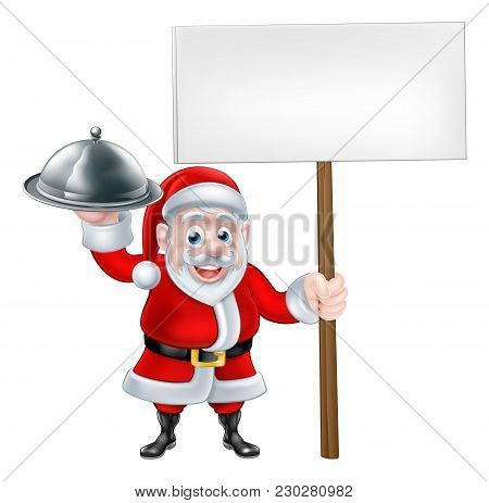 Cartoon Santa Claus Holding A Plate Of Food Or Silver Platter Cloche And A Sign Board Banner