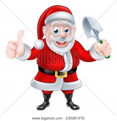 Christmas Cartoon Santa Claus Holding Trowel Spade And Giving A Thumbs Up