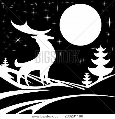 Stylised Black And White Illustration Of Winter Christmas Scene Featuring A Stag Deer In Front Of A