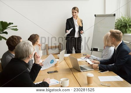 Successful Businesswoman Giving Presentation To Business Team, Female Ceo Leader Coaching Teaching O