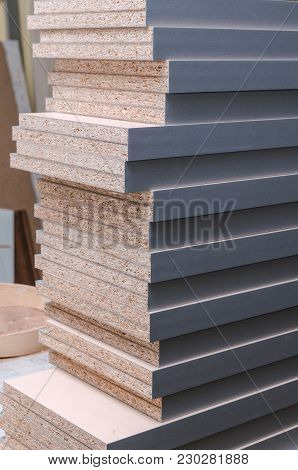 Board Chipboard Cut Parts For Furniture Production Close-up