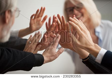 Hands Of Diverse Business People Giving High Five, Smiling Team Members, Teachers And Students Promi